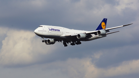 boeing 747: FRANKFURT, GERMANY - FEB 28th, 2015: The Lufthansa Boeing 747 - MSN 37829 - D-ABYD, named Mecklenburg-Vorpommern landing at Frankfurt International Airport FRA. The famous and powerfull aircraft nicknamed as Jumbo has first flight in 1969. The type larges