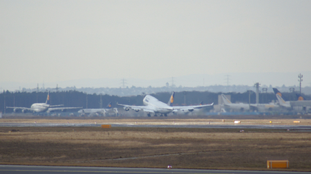 powerfull: FRANKFURT, GERMANY - FEB 28th, 2015: The Lufthansa Boeing 747 - MSN 28285 - D-ABVR, named Cologne going to take off at Frankfurt International Airport FRA. The famous and powerfull aircraft nicknamed as Jumbo has first flight in 1969. The type largest ope Editorial