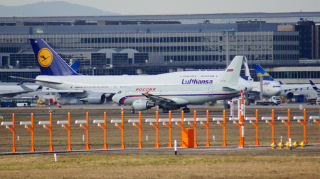 boeing 747: FRANKFURT, GERMANY - FEB 28th, 2015: The Lufthansa Boeing 747 - MSN 28287 - D-ABVT, named Rheinland Pfalz going to take off at Frankfurt International Airport FRA. The famous and powerfull aircraft nicknamed as Jumbo has first flight in 1969. The type lar
