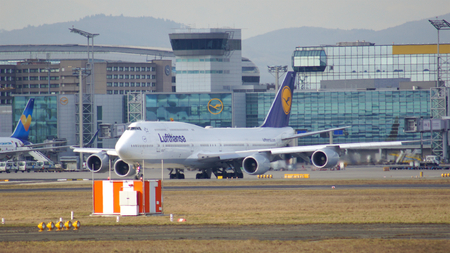 powerfull: FRANKFURT, GERMANY - FEB 28th, 2015: The Lufthansa Boeing 747 - MSN 28287 - D-ABVT, named Rheinland Pfalz going to take off at Frankfurt International Airport FRA. The famous and powerfull aircraft nicknamed as Jumbo has first flight in 1969. The type lar