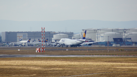 FRANKFURT, GERMANY - FEB 28th, 2015: The Lufthansa Boeing 747 - MSN 28287 - D-ABVT, named Rheinland Pfalz going to take off at Frankfurt International Airport FRA. The famous and powerfull aircraft nicknamed as Jumbo has first flight in 1969. The type lar