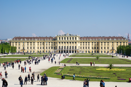 schonbrunn palace: VIENNA, AUSTRIA - APR 30th, 2017: Schonbrunn Palace in Vienna. Its a former imperial 1441-room Rococo summer residence of Sissi Empress Elisabeth of Austria in modern Wien Schoenbrunn
