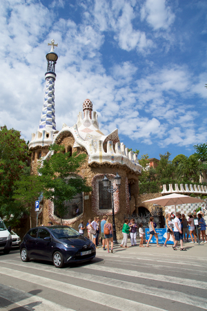 BARCELONA, SPAIN - AUG 30th, 2017: View of the entrance to the Park Guell by Antoni Gaudi, Catalonia