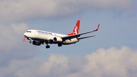 FRANKFURT, GERMANY - FEB 28th, 2015: Boeing 737 Next Gen - MSN 42006 - TC-JVE of Turkish Airlines landing at Frankfurt International Airport FRA. Turkish Airlines is the national flag carrier airline of Turkey
