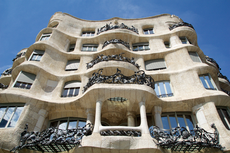 BARCELONA, SPAIN - AUG 30th, 2017: Outdoor view Gaudis creation-house Casa Mila during a sunny day. Editorial