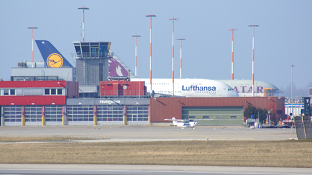 HAMBURG, GERMANY - MARCH 9th, 2014: Airbus A380 parking at the Airbus factory side at the airport Finkenwerder Editorial