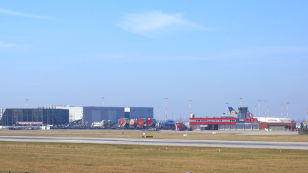HAMBURG, GERMANY - MARCH 9th, 2014: Airbus A380 parking at the Airbus factory side at the airport Finkenwerder Редакционное