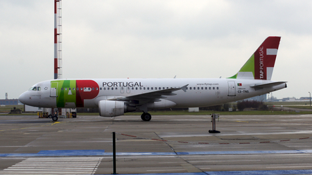 BERLIN, GERMANY - JAN 17th, 2015: Airbus A320 from TAP Portugal on airport Schoenefeld SXF