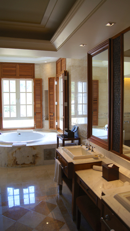 PULAU LANGKAWI, MALAYSIA - APR 4th 2015: Luxury hotel suite bathroom interior with jacuzzi