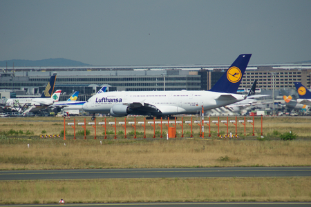 FRANKFURT, GERMANY - JUN 09th, 2017: Lufthansa Airbus A380 MSN 66 - D-AIMF aircraft taxiing on the airport. A380 is the flagship of Lufthansa airplane fleet