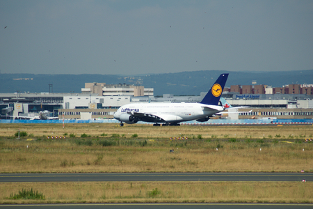 FRANKFURT, GERMANY - JUN 09th, 2017: Lufthansa Airbus A380 MSN 66 - D-AIMF aircraft takeoff from the airport. A380 is the flagship of Lufthansas airplane fleet Redakční