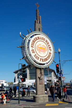 SAN FRANCISCO, CALIFORNIA, UNITED STATES - NOV 11th, 2018: People visit Fishermans Wharf
