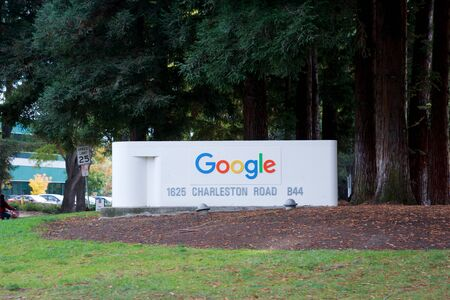MOUNTAIN VIEW, CALIFORNIA, UNITED STATES - NOV 26th, 2018: Google Sign at the Google Campus next to the street