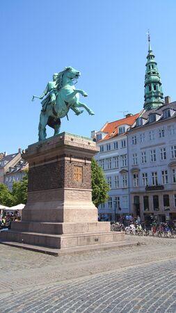COPENHAGEN, DENMARK - JUL 06th, 2015: Bishop Absalon statue in Hojbro Plads in Copenhagen