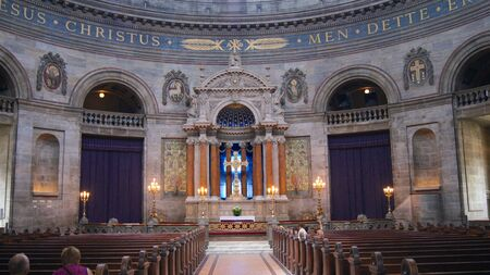 COPENHAGEN, DENMARK - JUL 06th, 2015: Inside of Frederiks Church Frederiks Kirke popularly known as The Marble Church Marmorkirken for its rococo architecture, is an Evangelical Lutheran church Editorial
