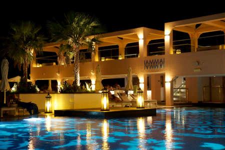 FUJAIRAH, UNITED ARAB EMIRATES - NOV 07th, 2017: Luxurious hotel pool by night