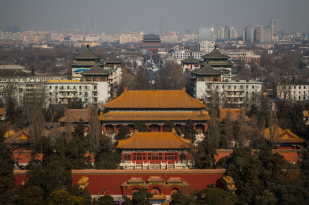 View onto Jutaposition of Temples and Modern Buildings seen from Jingshan Park Hill, Beijing, China