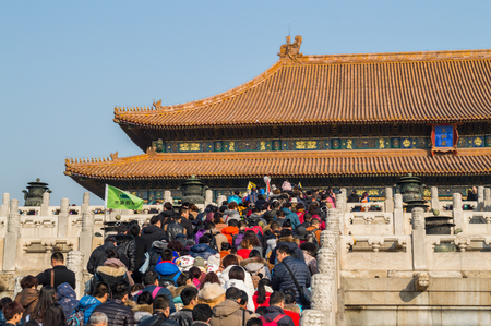 People Climbing Stairs inside the Forbidden City during the Chinese New Year, Beijing, China Editorial