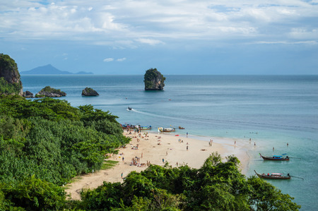 phra nang: Lime Stone Formations and Beach seen from a Cave, Phra Nang, Railay Beach, Krabi, Thailand Stock Photo