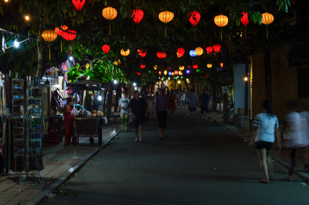 urban idyll: Picturesque Street with Lanterns in the Evening, Hoi An, Vietnam