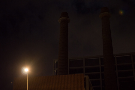 Industry: Chimneys at night in Barcelona, Spain Stock Photo - 90737227