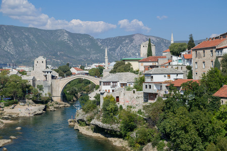Old Bridge (Stari Most), Neretva River and Old Town in Mostar, Bosnia and Herzegovina