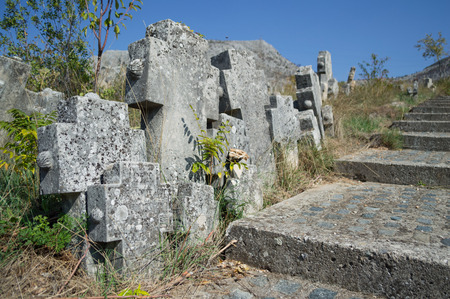 Tomb Stones at a Christian Cemetery in Mostar, Bosnia and Herzegovina Stock Photo