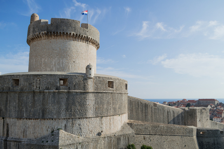 Minceta Tower, Old Town and Sea in Dubrovnik, Croatia