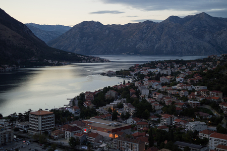 Panorama of Kotor Bay with Mountain Scenery Seen from Lookout at Dusk, Montenegro