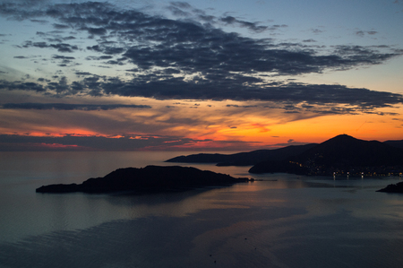 Panorama of Budva Riviera seen from Sveti Stefan Lookout Point during Sunset, Montenegro