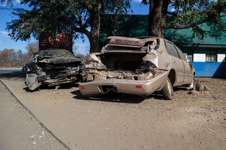 Completely Demolished Accident Car Wrecks after Collision, Zambia