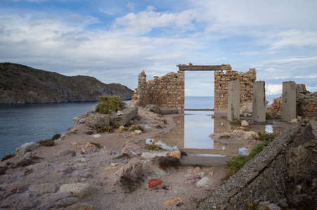 Abandoned Ruin at Bay of Firopotamos in Milos, Cyclades, Greece