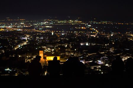 Panorama of Sierra Nevada and Granada, Spain as Seen from Sacromonte Hill at Night 스톡 콘텐츠