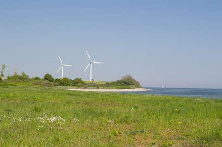 Coastal Landscape Scenery with Wind Turbine in Denmark