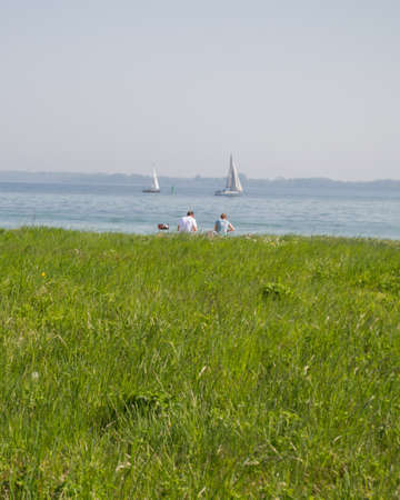 Picnic by the Sea with Barbecue in Denmark Banque d'images