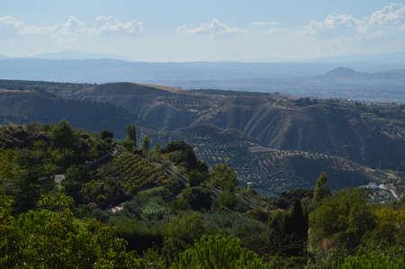 Landscape Panorama along Circular del Río Monachil Hike near Granada, Spain