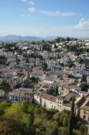 Albaycin Old Town Moorish Quarter Seen from the Alhambra in Granada, Spain