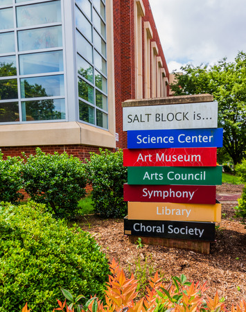 HICKORY, NC, USA-31 MAY 18: A sign describing the facets of the towns cultural center, called the SALT BLOCK.