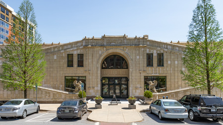 ASHEVILLE, NC, USA-13 MAY18:The north entrance of the historic Grove Arcade, a 1929 architectural masterpiece, created by E.W. Grove. Editorial