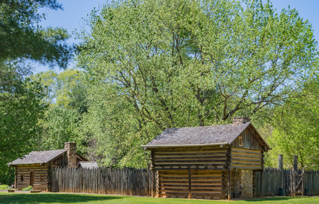 SYCAMORE SHOALS, ELIZABETHTON, TN, USA--APRIL 23: A commemorative statue and fort stand on the Watauga river on April 2015, marking events  of the American Revolution in 1780.