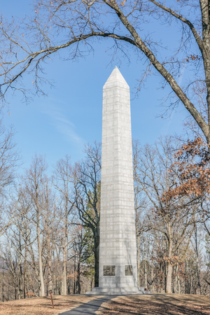 KINGS MTN NATIONAL MILITARY PARK, BLACKSBURG, SC,USA--DECEMBER,17: On December, 2017, the sun shines on the  83 ft. white granite obelisk commemorating the pivotal Battle of Kings Mtn. Editorial