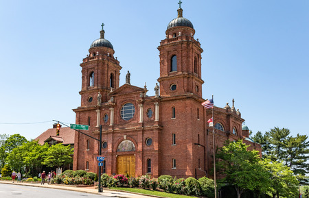 ASHEVILLE, NC, USA-13 MAY 18: The Basilica of St. Lawrence in Asheville, a  Catholic church given the name of