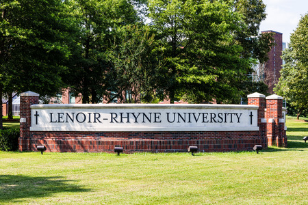 HICKORY, NC, USA-9 JUNE 18: A brick sign on the east corner of the Lenoir-Rhyne University campus.
