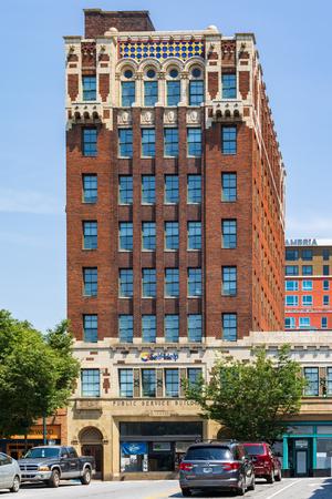 ASHEVILLE, NC, USA-10 JUNE 18: The 1929 brick Public Service building which features Neo-Spanish Romanesque and Moroccan terra-cotta designs.