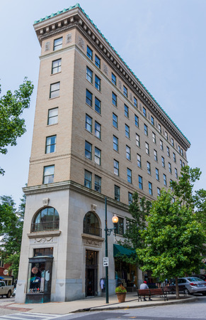 ASHEVILLE, NC, USA-10 JUNE 18:  The 1926 flatiron building, a retail and office building at Battery Park and Wall Streets. Editorial
