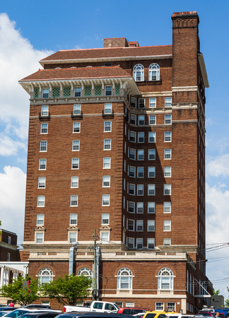 ASHEVILLE, NC, USA-24 JUNE 18: A side view of the stately, 1920s Battery Park Hotel building, now used for subsidized senior apartments. Editorial