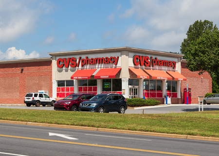 HICKORY, NC, USA-22 JUNE 18: CVS Pharmacy is a pharmacy chain owned by CVS Health, founded in Lowell, MA.