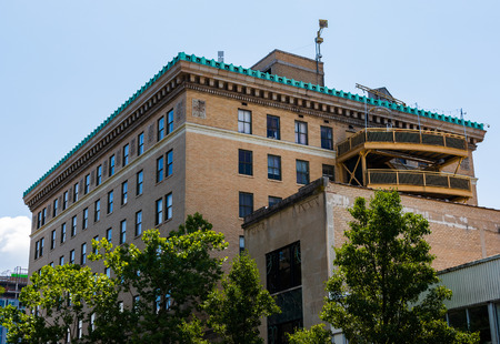 ASHEVILLE, NC, USA-24 JUNE 18: The rear of the 1926 flatiron building, a retail and office building at Battery Park and Wall Streets. Editorial