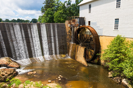 CATAWBA, NC, USA-22 JUNE 18:  Murrays Mill is within a national historic district, and includes an operating waterwheel, and  grindstones and milling equipment.