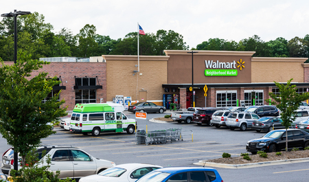 HICKORY, NC, USA-22 JUNE 18:  Walmart Neighborhood markets are a chain of smaller grocery stores, providing groceries, pharmacies, and sometimes gasoline.